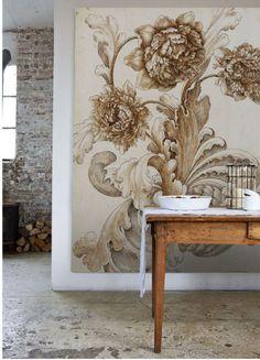big floral print in neutral