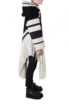 Shearling Hoodie with Fringes