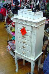 Antique painted jewelry chest, furniture. http://www.camillesantiqueboutique.com