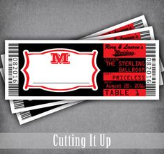 Concert Ticket Escort Cards, Movie Ticket Seating Cards, Place Cards, Sports Ticket, Concert Wedding, Hollywood Movie Wedding, Rock and Roll by CuttingItUp