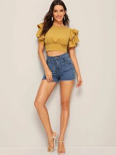 Ad: Tiered Layered Tie Open Back Crop Blouse. Tags: Round Neck Yellow Tie Back Fabric has no stretch Regular Fit Crop No Polyester Plain Summer Short Sleeve Layered Sleeve Boho Placket Polyester Girl Outfits, Casual Outfits, Fashion Outfits, Crop Top Outfits, Yellow Fabric, Couture Tops, Crop Blouse, Blouse Designs, Summer Blouses