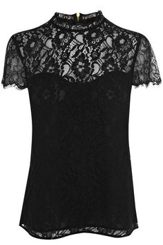 This pretty lace top features a scalloped high neckline and cap sleeve styling. The piece is finished with an exposed zip fastening at the nape of the neck.