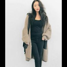 ❗️SALE❗️Faux Leather Pocket Knit Cardigan < size 4 can wear it as a oversized cardigan Jackets & Coats