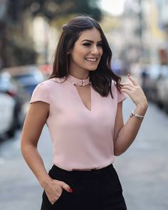 FeiTong Elegant hollow out pink blouse shirt women Short sleeve vintage pearls blouse V-neck summer top female casual blusas - Shirts & Tops, Shirt Blouses, Pink Blouses, Blouse Styles, Blouse Designs, Mode Shorts, Blouses For Women, Cute Outfits, Fashion Outfits