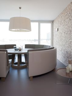 stone wall and soft chalk tones   Breakfast area, apartment on the river by Remy Meijers @Linda Bruinenberg Bruinenberg Bruinenberg Jones White