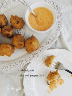Spicy Red Pepper Aioli with Crab Beignets