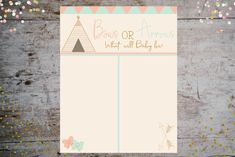 Bows(Girl) or Arrows(Boy) Vote Tally Poster | Gender Reveal Décor and Baby Shower Collection