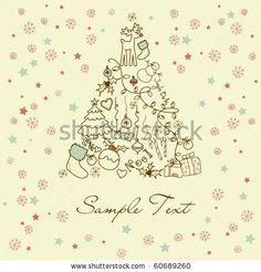 stock vector : Christmas tree made of cartoon holiday symbols