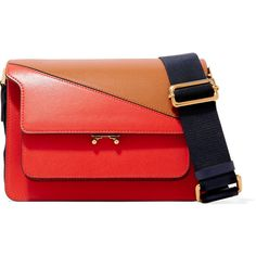 Marni Trunk two-tone leather shoulder bag (123.860 RUB) ❤ liked on Polyvore featuring bags, handbags, shoulder bags, red, red shoulder bag, leather crossbody handbags, leather crossbody purse, leather crossbody and red leather crossbody
