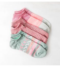 Olive AEO Bright Printed Shortie Sock 3-Pack