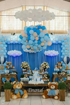 Balloons decoration are an absolute necessity have for any birthday party! Explode your balloons utilizing your mouth, a pneumatic machine, or a helium tank. Baby Boy Balloons, Baby Shower Balloons, Baby Shower Parties, Baby Shower Themes, Shower Ideas, Teddy Bear Baby Shower, Baby Boy Shower, Balloon Decorations, Birthday Decorations