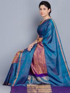 Blue Silk Zari Handwoven Kanchipuram Saree