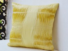 Decorative Pillow with pleats  Yellow cotton blend by AmoreBeaute