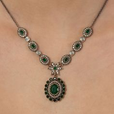 The Zerbap Phila Necklace with Zircon Emerald Stones by Rosestyle, $84.50