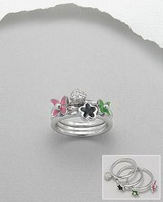 Sterling Silver Three Flower & CZ Stack Rings