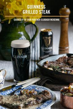 Fancy something special for St. Patrick's Day? Clodagh Mckenna's Grilled Steak with Guinness Peppered Sauce is a delicious way to get into the St. Beer Recipes, Irish Recipes, Grilling Recipes, Dinner Recipes, Cooking Recipes, Recipies, Guinness, New York Strip Steak, Cooking With Beer