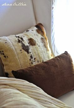 Dear Lillie: Early Fall House Tour - love these faux cowhide pillows from World Market! #EclecticallyFall