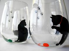 Cat and Yarn Stemless Wine Glasses--Set of 4 by Mary Elizabeth Arts