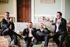 Fantastic photo of the Groom and his Groomsmen enjoying a cigar. Groomswear by Louis Copeland & Sons Reception: Borris House Photography by: Katie Kav Photography Diy Spring Weddings, House Photography, Cigar, Groomsmen, Sons, Reception, My Son, Receptions, Boys