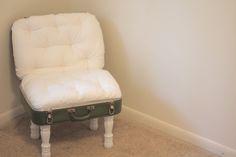 see kate sew: DIY: Vintage Suitcase Chair Upcycled Furniture, Diy Furniture, Modern Furniture, Furniture Making, Outdoor Furniture, Suitcase Chair, Suitcase Shelves, Vintage Suitcases, Vintage Luggage