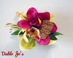 Tiki and Bamboo Hair flower Tropical Hawaiian Pin UP by DiabloJos