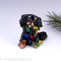 Cavalier King Charles Spaniel Ornament Black Tan Christmas Porcelain-- absolutely adorable!