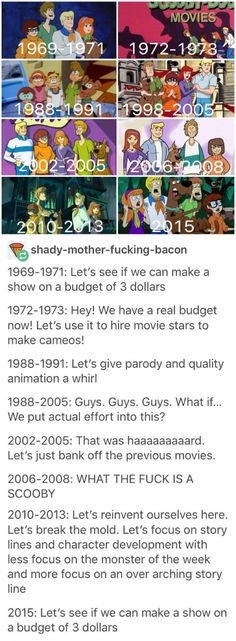 I love the original, I like the movies, I also like what's new scooby Doo. But get a clue and be cool scooby Doo are awful Memes Humor, Funny Memes, Funny Gifs, Videos Funny, Live Action, Geeks, Powerpuff Girls, Tumblr Posts, Satire