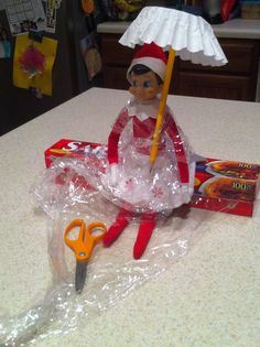 Elf on the Shelf idea for a rainy night ~ with living in FL this is cute since it rains everyday!!