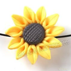 20x Hot Sale Charms Yellow Sunflower FIMO Polymer Clay Beads 30mm Findings J