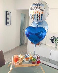 Birthday Gifts For Boyfriend Diy, Boyfriend Anniversary Gifts, Boyfriend Gifts, Birthday Box, Husband Birthday, Simple Birthday Decorations, Cute Date Ideas, Birthday Breakfast, Birthday Balloons