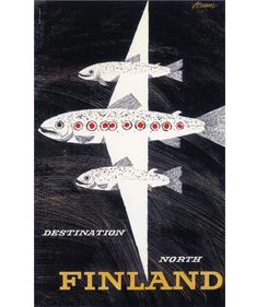 Erik Bruun Illustration Travel poster for Finnair. From Graphis Annual Vintage travel posters Vintage Travel Poster Montana Native. Retro Poster, Poster Ads, Advertising Poster, Vintage Travel Posters, Print Poster, Vintage Advertisements, Vintage Ads, Party Vintage, Illustrations Vintage