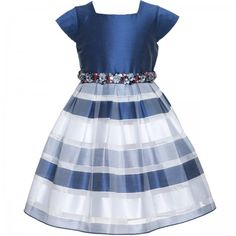 Navy bodice and striped skirt formal summer dress for toddler and young girl.