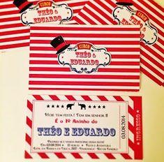 Ateliê Bela Época - Lembranças para festas: Festa Circo Vintage Circo Vintage, 30, Scrap, Personalized Invitations, Kids Part, Belle, 1 Year, Stationery Shop, Fiestas