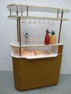 RARE LARGE Retro Vintage 50s 60s Cocktail Home Drinks Bar & extention section