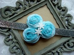 Disney's Frozen Inspired Headband, Silver Glitter Elsa Headband with Snowflakes and Teal Fabric Flowers, Disney Princess Elastic Headband