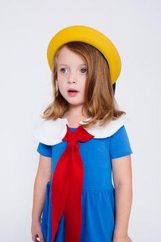 Kid's Madeleine Halloween Costume  The Wishing Elephant Madeleine Collar and Yellow Hat June & January Cobalt Blue Swing Dress
