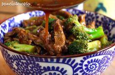 Carne com brócolis a moda oriental