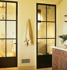 Metal french doors for shower and toilet closet doors