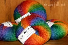 "rainbows | Wee Folk Art - fingerling weight. ""mochi plus"" is worsted weight."