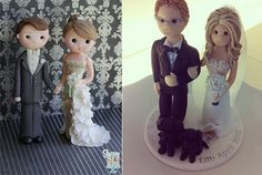 bride and groom cake topper by Sugar High left and by Feats of Clay UK right Bling Wedding Cakes, White Wedding Cakes, Wedding Cake Designs, Wedding Cake Toppers, Diy Cake Topper, Cake Topper Tutorial, Custom Cake Toppers, Cartoon Wedding Cakes, How To Make Wedding Cake
