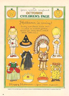 Here's a darling paper doll for Halloween from Joan Walsh Anglund. This was from Good Housekeeping Magazine (i think? Vintage Halloween Cards, Halloween Items, Fall Halloween, Halloween Crafts, Retro Halloween, Vintage Playmates, Joan Walsh, Cool Paper Crafts, Paper Dolls Printable