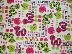 Book Worm Flannel Fabric By The Yard FBTY. $5.00, via Etsy.