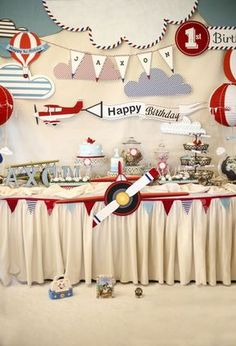 Airplane theme birthday party head table and back drop design. All custom ha… Airplane theme birthday party head table and back drop design. All custom hand made for the specific theme. Planes Birthday, Birthday Themes For Boys, 1st Boy Birthday, Boy Birthday Parties, Planes Party, Airplane Birthday Themes, 1st Birthday Decorations Boy, Boys First Birthday Party Ideas, Birthday Table