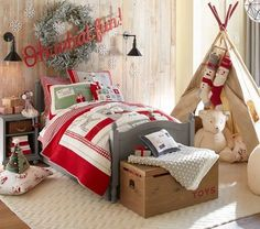 Kids Christmas Bedding Santa Holiday Collection: Cheery letters to Santa, reindeer and Old St. Nick decorate this plush quilt with magical design. Pottery Barn Christmas, Cozy Christmas, Christmas Deco, Pottery Barn Kids, Christmas Colors, Christmas Holidays, Quilt Bedding, Bedding Sets, Girls Bedroom