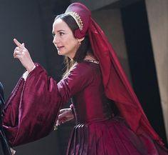 """tudorcostume: """"Anne Boleyn's Red Gown (Wolf Hall, Aldwych Theatre, 2014) """""""