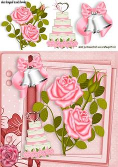 PINK WEDDING BELLS WITH ROSES ON A SCRAPBOOK PAGE on Craftsuprint - Add To Basket!