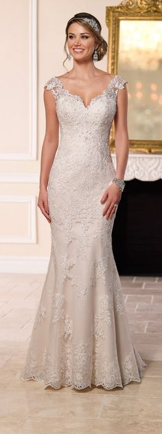 This glamorous wedding gown from the Stella York bridal collection boasts an illusion lace bateau neck with sweetheart styling, an illusion lace racer-back, a form-fitting skirt, and elegant train. Lace Back Wedding Dress, Illusion Neckline Wedding Dress, Wedding Dress Necklines, 2016 Wedding Dresses, Bridal Dresses, Dresses 2016, Lace Wedding, Dress Lace, Trendy Wedding
