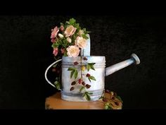 Part one. How to make a watering can cake, cover and add details...other you tube videos look helpful too