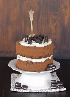 Tarta de chocolate con crema de queso y Oreos / Chocolate Cake with cheese cream and Oreos