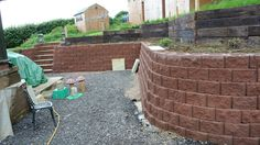 Beautiful curved walls being created, Terraforce UK Retaining Wall Blocks, Concrete Blocks, Tiered Garden, Curved Walls, Block Wall, Sustainable Development, Fences, Beautiful Gardens, Screens